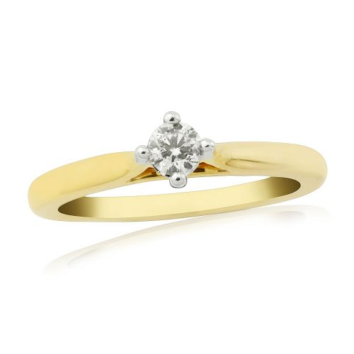 Solitaire Single Stone Four Claw Engagement Ring Yellow Gold 15 Points